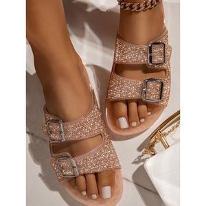 Shoes - Jelly Double Buckle Rhinestone Slip On Sandals